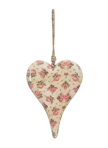 Vitale Çiçek Desenli Kalp Büyük Boy Krem